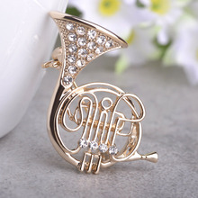 Madrry High Quality Trumpet Shape Brooches For Women Gold Crystals Musician Broches Hijab Pins Dress Decorations Jewelry