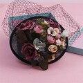 Korean Bride Sinamay Wedding Hat And Fascinator Handmade Fabric Flower Veil Hair Clip Vintage PartyFascinator WOmen Headwear New