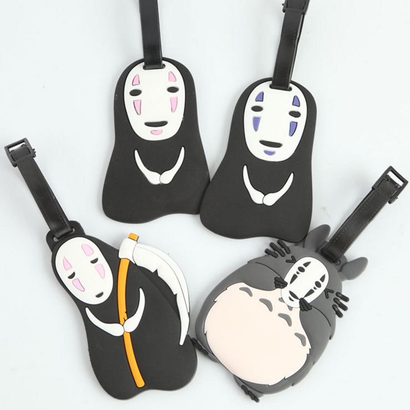 1 Pcs Cute Japanese anime Hayao Miyazaki Spirited Away Without Face Totoro Man Bus Hang Luggage Tags toys