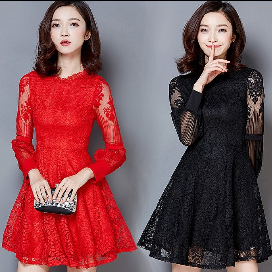 Fashion Princess Stitching Lace Dress 2017 New Spring Autumn Womens Party Red Black Slim Long Sleeve Base Mini Dreses Vestidos ...