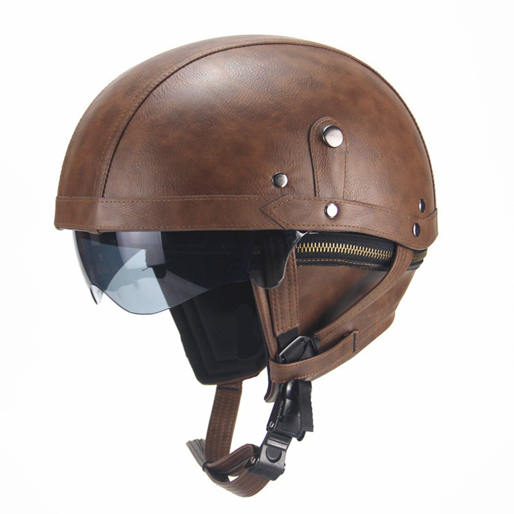Open Face Motorcyle Helmet Vintage Motocross Moto Helmets for Harley Retro Motorbike One Size for 56cm-61cm Head Circumference