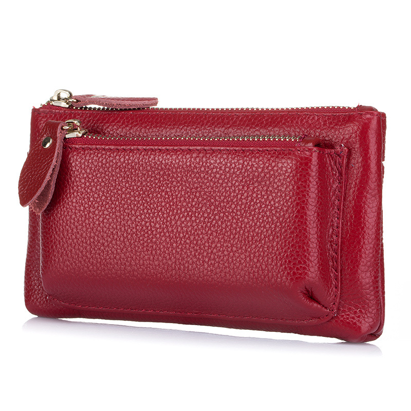 Organizer TOP Layer Cowhide Wallets Women Long Large Capacity Ladies Wallet Double Zipper Clutch Purse Pure Cow Leather Made Bag