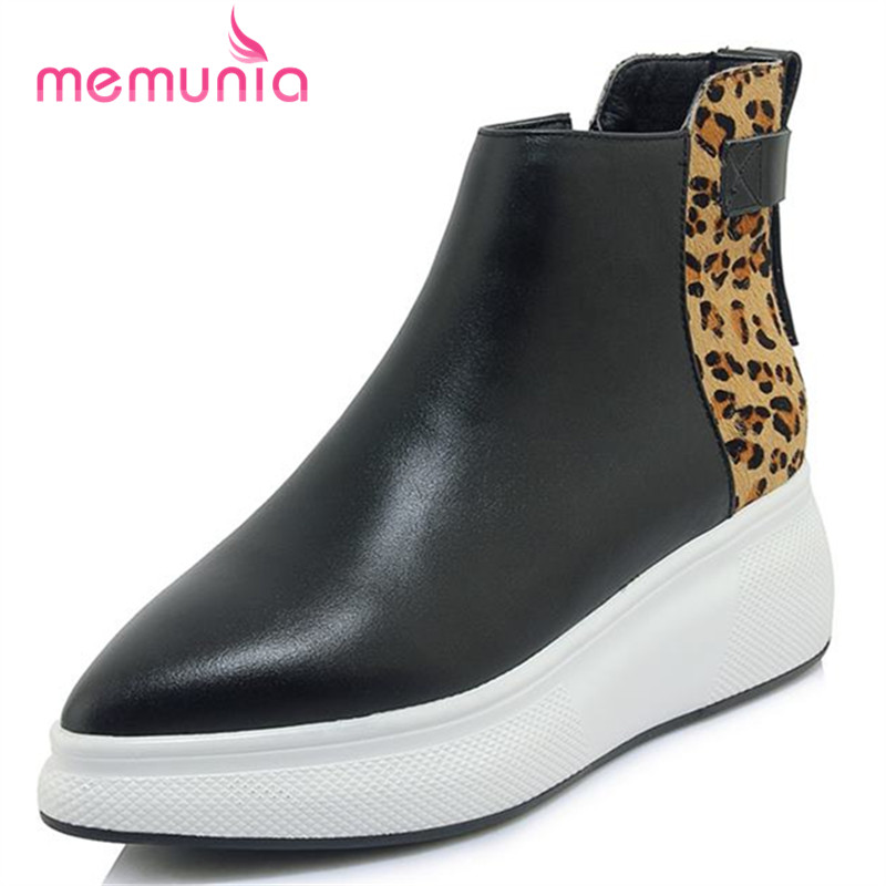 MEMUNIA genuine leather boots fashion autumn winter ankle boots for women hot sale elegant boots pointed toe shoes woman цена