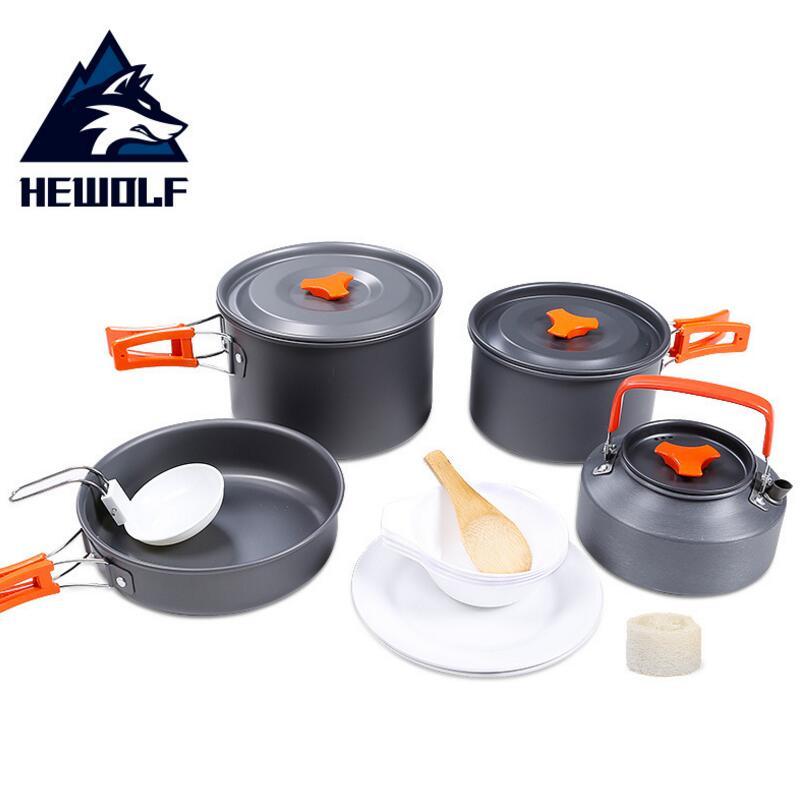 HEWOLF 4-5 Peson Camping ustensiles de cuisine pique-nique vaisselle casserole randonnée en plein air cuisine Camping vaisselle pique-nique ensemble