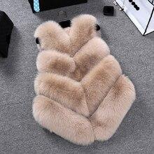 Zadorin novo luxo falso pele de raposa colete feminino plus size peludo curto faux peles coletes casaco de pele gilet fourrure outono inverno