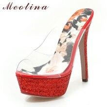Купить с кэшбэком Meotina Summer Shoes Women Slides Transparent Platform Thin Heel Shoes Glitter Extreme High Heel Party Slippers Sandals Red 3 43
