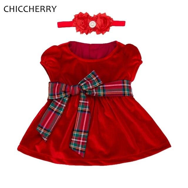 Velvet Red Christmas Girls Dress Headband Vestido Bebe Infant Wedding Dress Kids Party Clothes Baby Girl Christmas Outfits