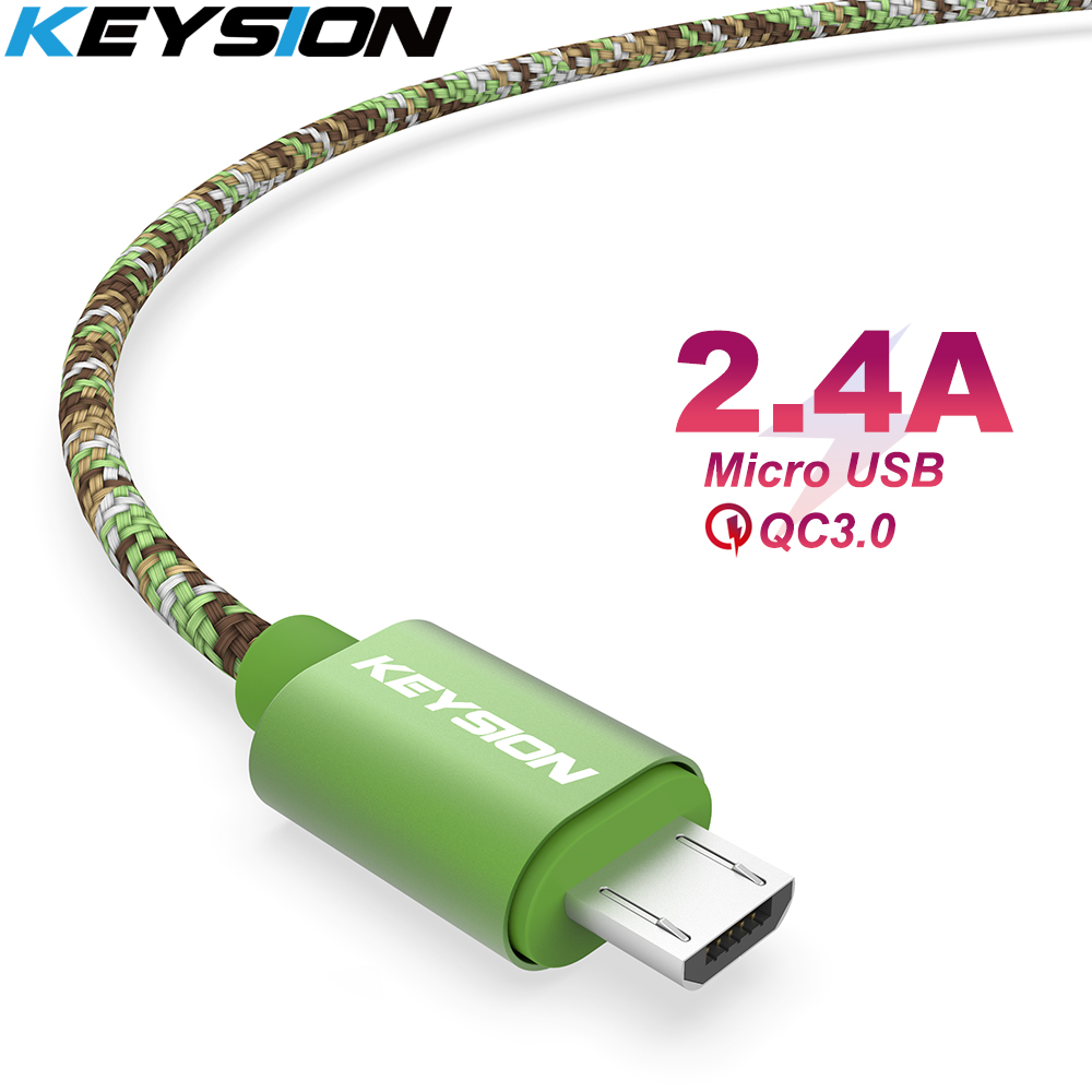 KEYSION Micro USB Cable 2.4A Nylon Fast Charge USB Data Cable for Samsung Xiaomi Tablet Android Mobile Phone USB Charging Cord-in Mobile Phone Cables from Cellphones & Telecommunications