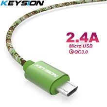 KEYSION مايكرو USB كابل 2.4A النايلون سريع تهمة USB كابل البيانات لسامسونج شاومي اللوحي أندرويد الهاتف المحمول USB شحن الحبل