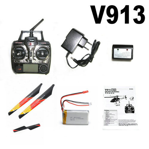 V913 RC Helicopter Spare Parts Remote Control +  Charger  + Battery + Gift Blades + Manual 3pcs battery and european regulation charger with 1 cable 3 line for mjx b3 helicopter 7 4v 1800mah 25c aircraft parts