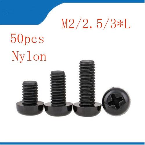 Plastic bolt nut 50Pcs M2 M2.5 M3 M4 Black plastic Nylon Round Pan Phillips Head Screw Bolt Hex Nut m3 brass phillips pan head machine screw