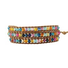 Women Boho Bracelet Natural Stone 3X Leather Wrap Colorful Faceted Beaded Drop Shippping
