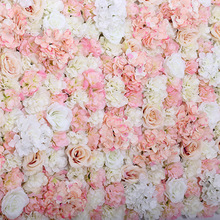 40x60cm Artificial Flower Panels Wedding Decoration Silk Flower Backdrop Champagne Rose Fake Flowers Hydrangea Wall Background