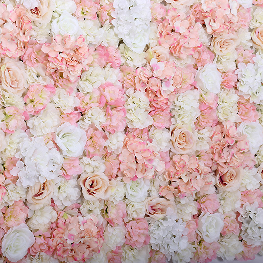 40x60cm Artificial Flower Panels Wedding Decoration Silk Flower Backdrop Champagne Rose Fake Flowers Hydrangea Wall Background