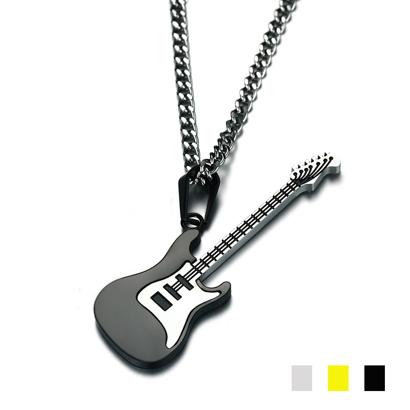 316L Stainless <font><b>steel</b></font> Cute <font><b>guitar</b></font> Pendant women Music instrument charm <font><b>Titanium</b></font> <font><b>steel</b></font> Link chain <font><b>Necklace</b></font> For Men Fashion Jewelry image