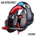 Kotion each g2200 wired gaming headset auriculares auriculares con cancelación de ruido auriculares con micrófono led para ordenador gamer pc