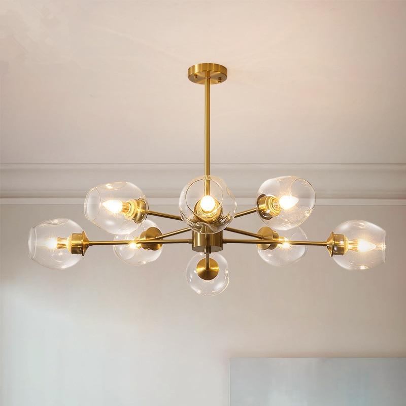 Nordic Copper LED Chandelier Simple Living Room Lamp Bedroom Light Atmosphere Glass Lampshade Restaurant Villa Hotel Fixtures Pendant Lights     - title=
