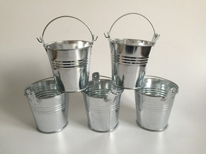 20Pcs/lot D7.5XH7.5CM Silvery Color Galvanized Mini Buckets tin pots Small Pails Flower pot Zinc Succulent planters SF-020S