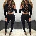 2017 mulheres sexy oco out macacões da moda casuais playsuits senhora 2 peças partido clube vestidos bodycon macacão feminino macacão