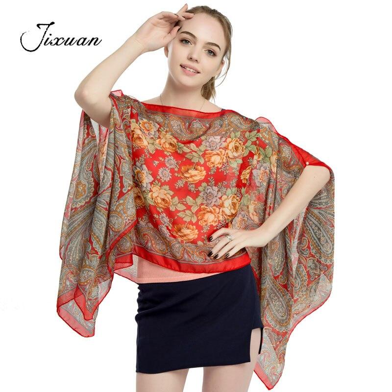 2018 women scarves ladies summer fashion print clothing chiffon pashmina silk print soft shawl capes high quality foulard poncho