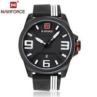 Naviforce Mens Watches Top Brand Luxury Quartz Black Silicone Sport Watch Auto Date Male Wristwatches Men