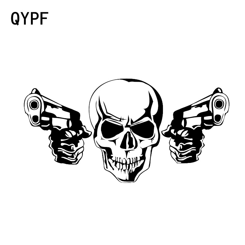 QYPF 17.4*8.9CM Coolest Gun Skull Car Stickers High Quality Decoration Vinyl Motorcycle Bicycle Accessories Graphic C16-0212