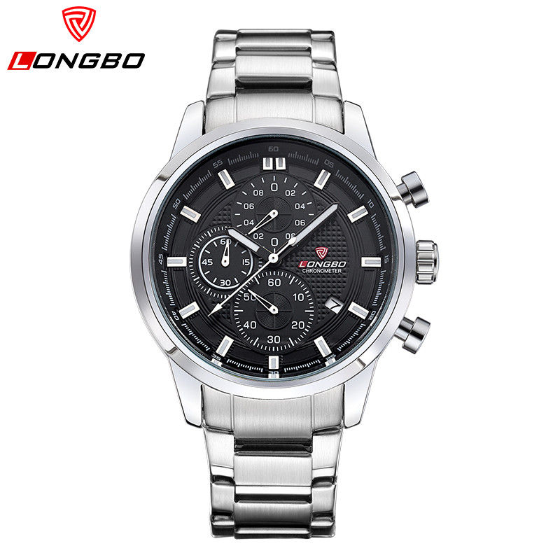 Relogio Masculino LONGBO Brand Men Casual Watch Chronograph Sports Watches Men Stainless Steel Quartz Wrist Watch