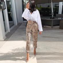 women snake skin pattern pants elastic waist pockets ladies casual streetwear fashion trousers mujer per se two tone snake skin pants