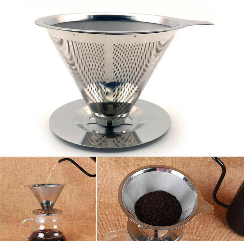 Reusable Coffee Filter Holder Double Layers Stainless Steel Pour Over Coffees Dripper Mesh Metal Coffee Tea Filters Basket Tools