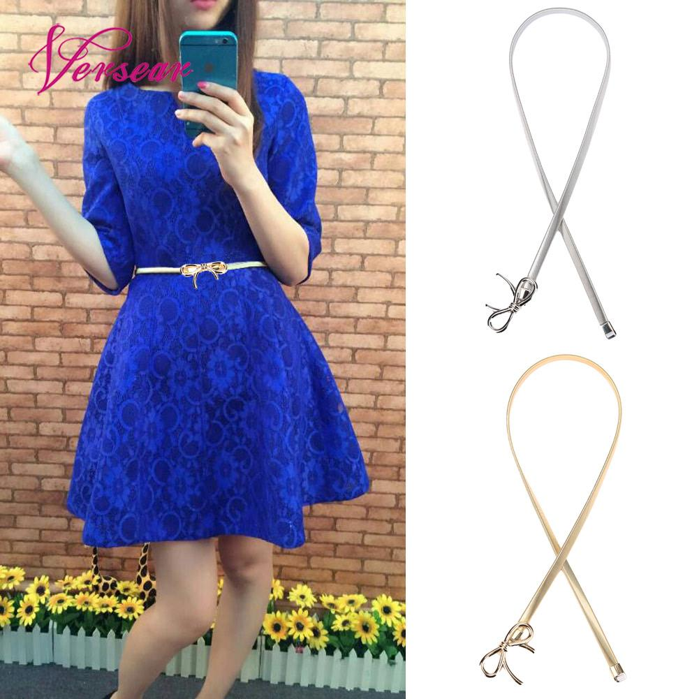 Versear Elegant Woman Belts for Dress 2019 High Quality Fashion Elastic Circle Designer Ladies Chain Gold Thin Stretch Belt