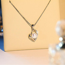 Everoyal Fashion 925 Silver Accessories Female Clavicle Necklace For Girls Bijou Trendy Pearl Pendant Necklace Women Jewelry everoyal trendy silver 925 girls clavicle necklace jewelry female fashion crystal bowknot pendant necklace for women accessories