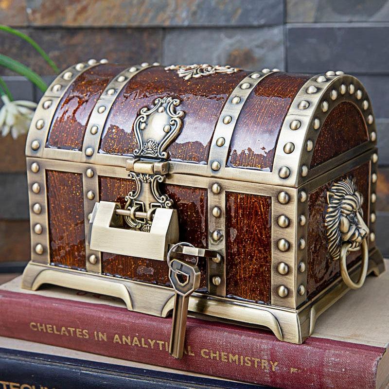 Vintage Home Decoration Big Size Pirate Box Treasure Chest Jewelry Box Organizer Metal Art Craft Decor
