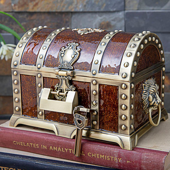 Treasure Chest Jewelry Box Organizer Metal Art Craft