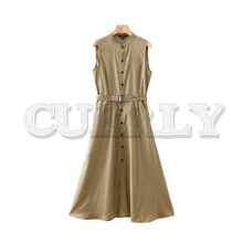 CUERLY women elagant solid shirt dress sashes pockets buttons sleeveless female casual maxi dresses stylish vestido cuerly 2019 women solid pleated shirt dress buttons long sleeve turn down collar female casual mini dresses vintage vestido