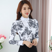 3b39a675cd5c9 2019 spring New fashion elegant Korean Chiffon Shirt Long Sleeved print Lace  Blouses Slim Women clothing top 883A 25