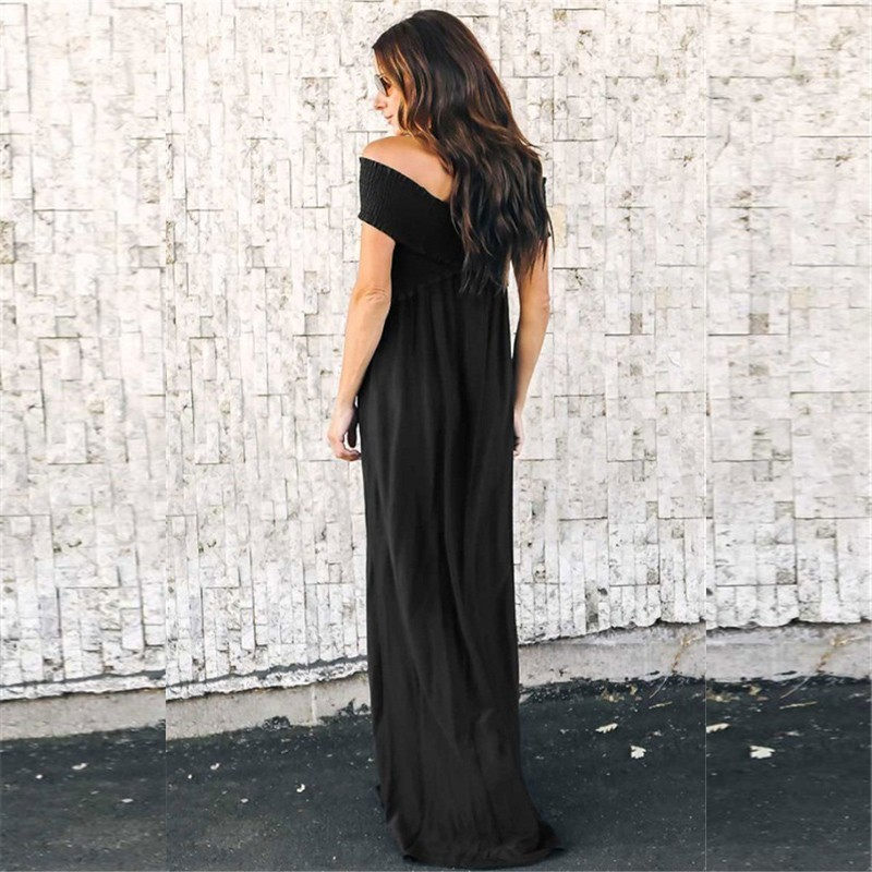 Black Boho Dress Women Summer 2019 Fashion Off Shoulder Beach Maxi Dress Sexy Ladies Knot Casual Holiday Long Dresses For Women in Dresses from Women 39 s Clothing