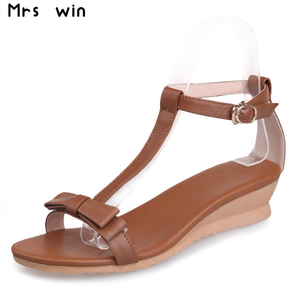 Womens sandals reviews - Women New Fashion Summer Preppy Style Wedge Heels Genuine Leather Open Toe Gladiator Casual Shoes Soft Women S Sandals