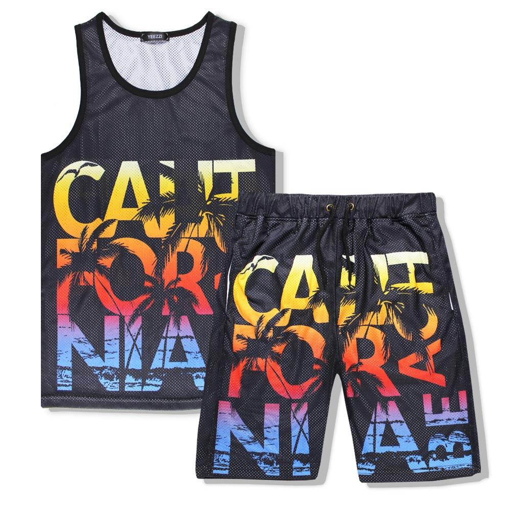 Shelikeit TopBrand Store ZAPUYO Men Summer Tank Set 3D Letter Print California Beach 2Pcs Mesh Vest Tracksuit Sets Casual Fitness Top Shorts M-XXL