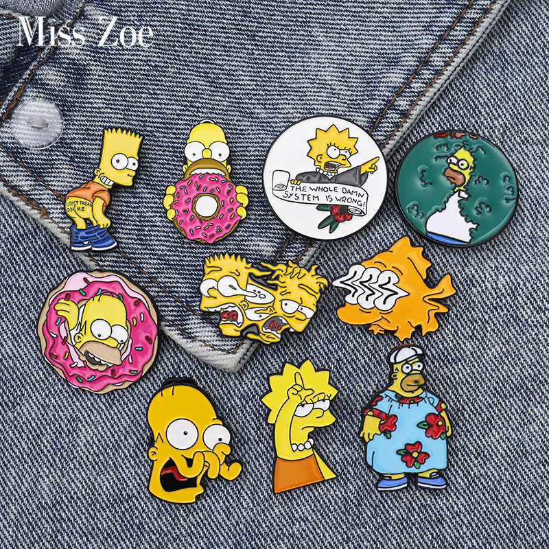 Homer Bart Lisa Emaille Pins Custom Grappige Broches Bag Kleding Revers Pin Cartoon Comics Badge Fun Tv Serie Sieraden Gift fans
