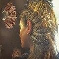 De moda plumas leopardo brazalete de oído de oro pendientes de Clip pendientes largos aretes pendientes para los hombres y las mujeres boda sin Piercing joyería Bijoux México pendientes