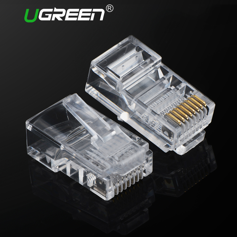 Ugreen Cat5 RJ45 Connector Cat5E 8P8C Modular Ethernet Cable Head Plug Gold-plated Cat 5 Crimp Network RJ 45 Connector rj45 connector cat5 cat6 lan ethernet splitter adapter 8p8c network modular plug for pc laptop 10pcs aqjg