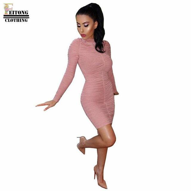 8d92405dd4f New Fashion Vestidos Mujer Pink Bodycon Dress Long Sleeve O-Neck Solid Mini Dress  online