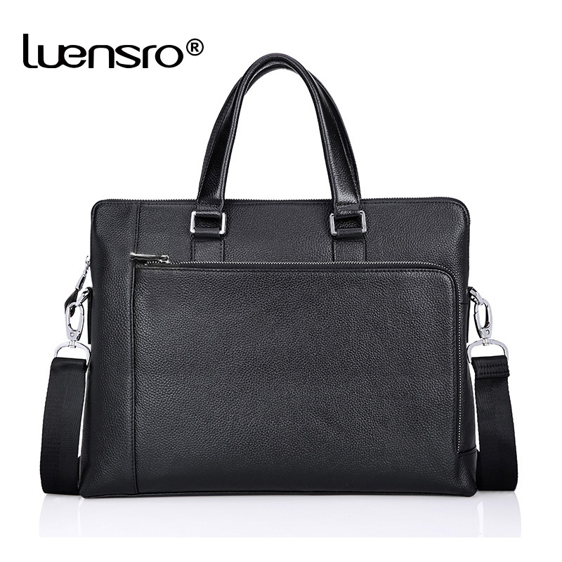 LUENSRO Genuine Leather Bag Men Bag Cowhide Men Crossbody Bags Men's Travel 14 Inch Shoulder Bags Tote Laptop Briefcases Handbag