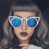 future 2017 New Women Sunglasses Vintage Cat Eye Sun glasses Metal Eyeglasses Frames Mirror reflect Shades Sexy unisex