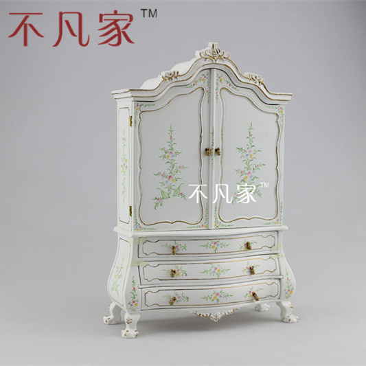 Doll house miniature1 12 miniature mini furniture white colored drawing display cabinet JBMMINIATURES wholesale