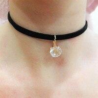 N933 Choker Necklaces Women Black Velvet Suede Leather Chain Short Collares Zircon Fashion Jewelry Gothic 90's Bijoux ras de cou