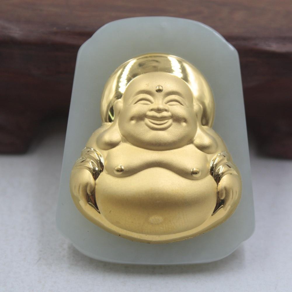 Certificate Fine 3D 24K Yellow Gold &Hetian Jade Pendant Big Belly Smile Buddha 46*36mm PendantCertificate Fine 3D 24K Yellow Gold &Hetian Jade Pendant Big Belly Smile Buddha 46*36mm Pendant