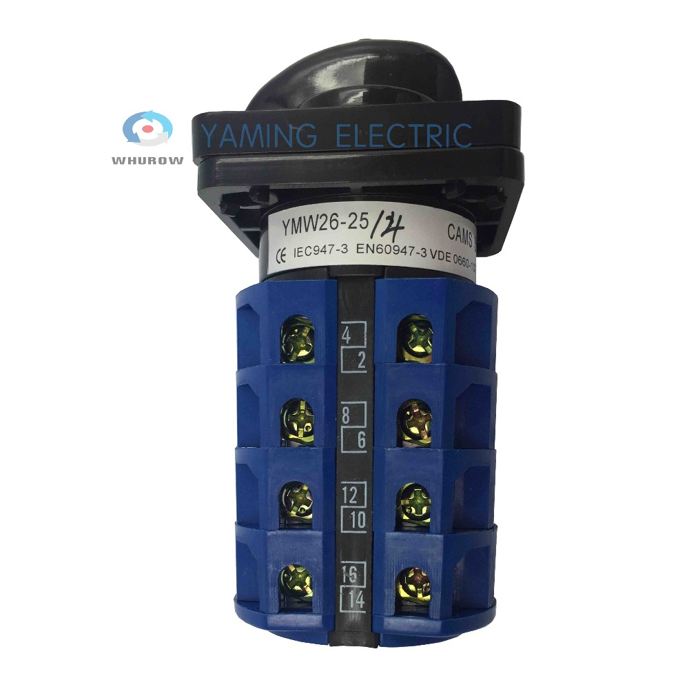 Yaming electric YMW26 25 4 Panel Mount 25A 4 poles 3 position control motor circuit Universal changeover rotary cam switch in Switches from Lights Lighting