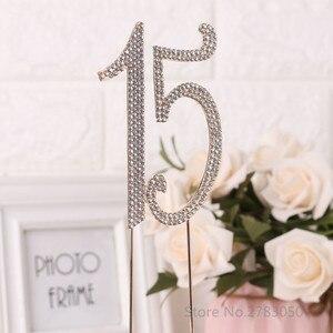 Image 3 - Diamante Strass No. 15/16/18/21 Cake Topper per La 15th 16th 18th 21th Compleanno Anniversario di Matrimonio decorazione Della Torta Del Partito