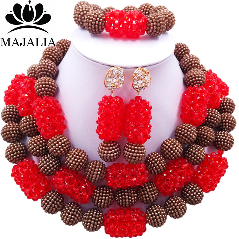 Majalia Classic Fashion Nigerian Wedding African Jewelery Set Brown and Red Crystal Necklace Bride Jewelry Sets 3SZ043Majalia Classic Fashion Nigerian Wedding African Jewelery Set Brown and Red Crystal Necklace Bride Jewelry Sets 3SZ043